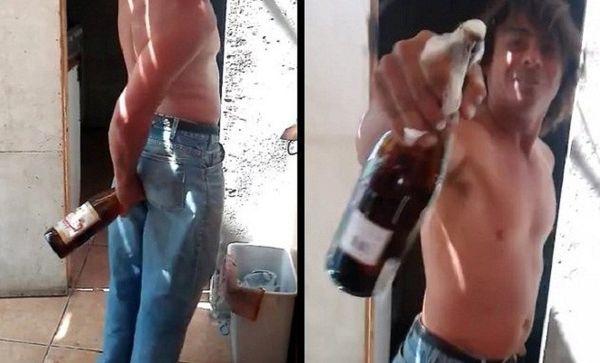 Фото как засунули бутылку шампанского оптом