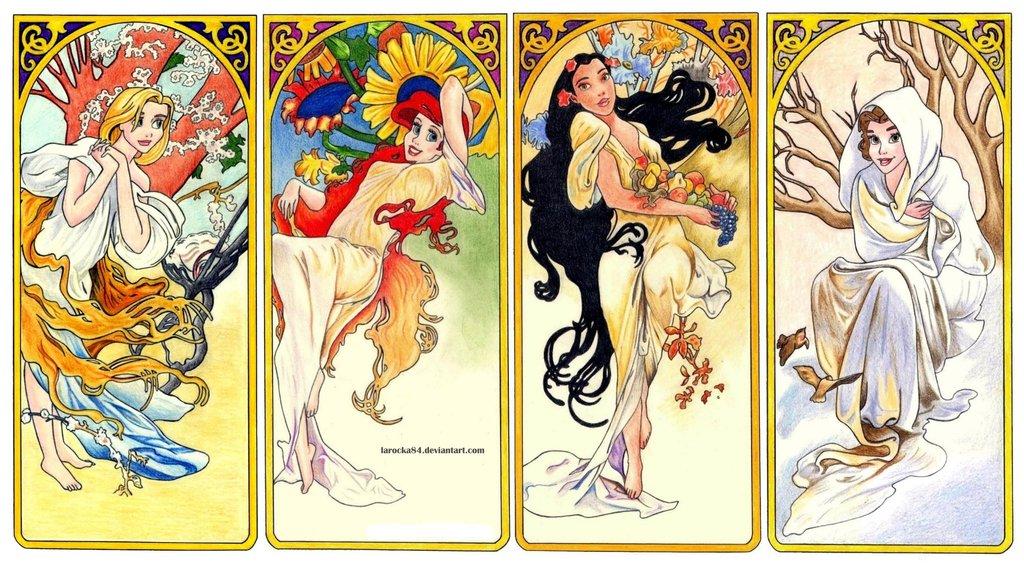 disney-mucha-larocka84-4seasons-bella-pocahontas-ariel-rapunzel-laura