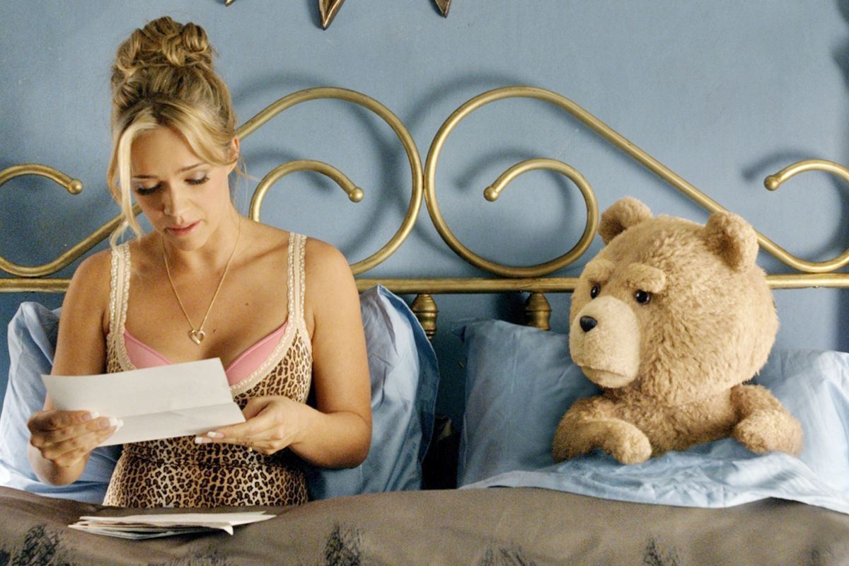 """In this image released by Universal Pictures, Jessica Barth, left, and the character Ted, voiced by Seth MacFarlane, appear in a scene from """"Ted 2."""" (Universal Pictures via AP)"""