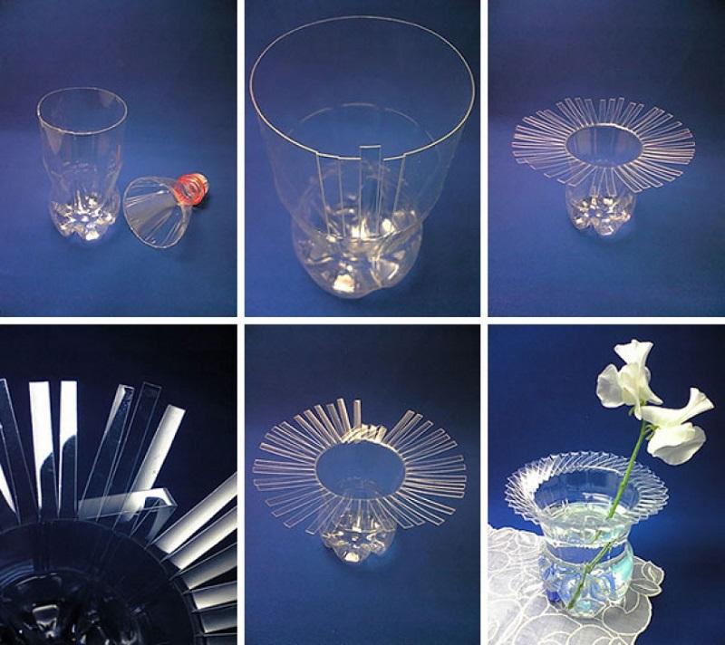 Как сделать из пластиковых бутылок ваза