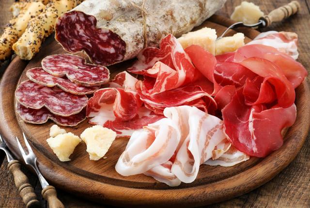 Italian meat platter - prosciutto ham, bresaola, pancetta, salami and parmesan