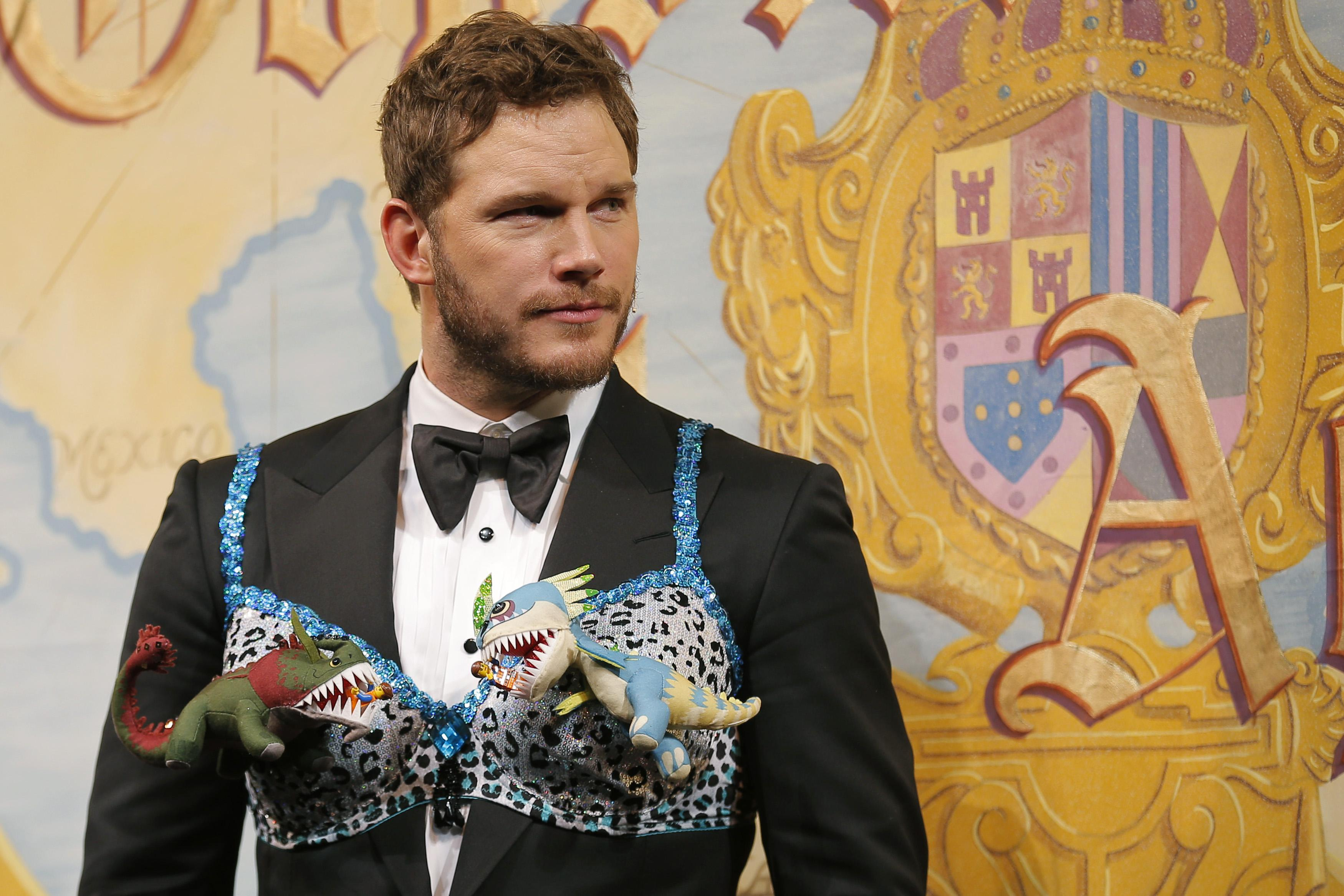 Actor Chris Pratt wears a bra decorated with stuffed animals as Pratt is roasted and honored as Hasty Pudding Theatricals' Man of the Year at Harvard University in Cambridge, Massachusetts February 6, 2015. REUTERS/Brian Snyder (UNITED STATES - Tags: ENTERTAINMENT)