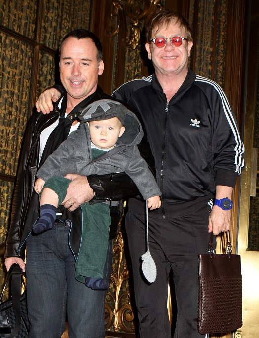Mandatory Credit: Photo by REX/Shutterstock (1480757d) David Furnish, Sir Elton John and son Zachary Jackson Levon Furnish-John Elton John and David Furnish out and about in New York, America - 27 Oct 2011